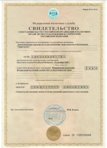 видетельство о постановке на учет российской организации в налоговом органе по месту нахождения натерритории Российской федерации